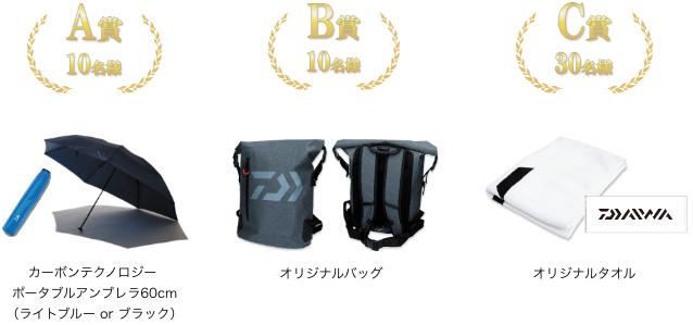 A賞:カーボンテクノロジー ポータブルアンブレラ60cm(10名様)、B賞:オリジナルバッグ(10名様)、C賞:オリジナルタオル(30名様)
